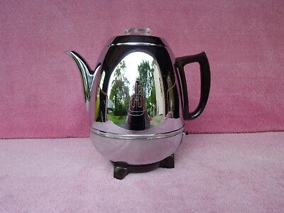 Vtg 1950s General Electric Chrome Potbelly 9-Cup Percolator Coffee Pot Maker