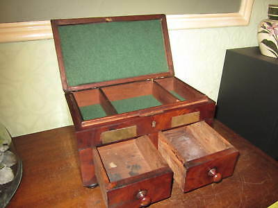 A Georgian or Victorian box with 2 drawers