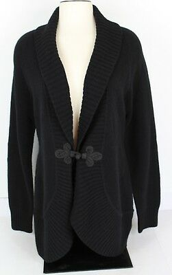 Lauren Ralph Lauren Women L Black 100% Wool Cardigan Long Sleeve Long Toggle EUC