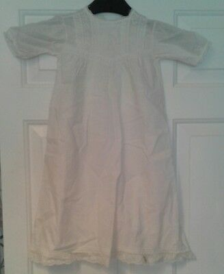 Antique Vintage Palatine Embroidered Cotton & Lace Baby Gown / Dress