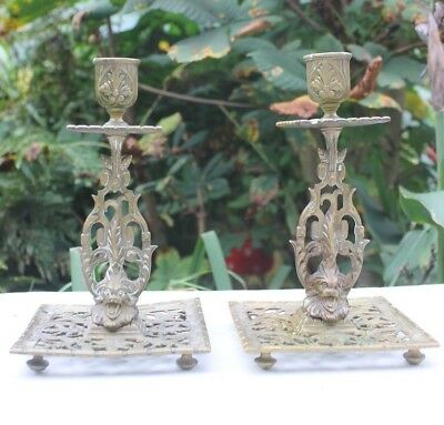 Pair of Townshend Aesthetic Period Brass Candlesticks, C1900