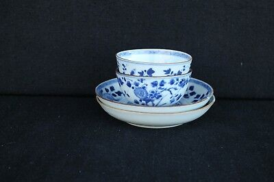 Two Kangxi Cup & Saucers with floral decoration Chinese export No 1.