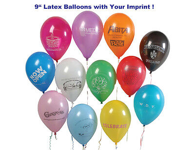 """9"""" Latex Balloons (1000) Personalized Printed w/Your Message/Text/Logo"""