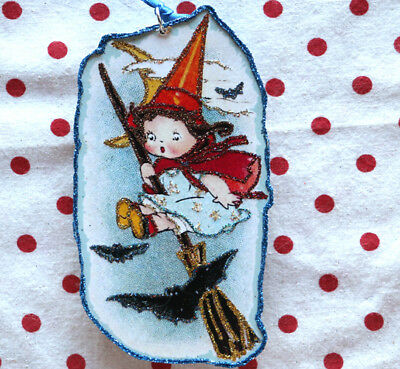 Glittered Wooden Halloween Ornament~  Little Witch & Bats~Vintage Card Image