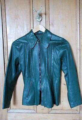 Vintage 70s Italian Leather Jacket Bottle Green Buttersoft SMALL Size 6-8
