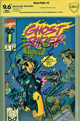 Ghost Rider #2 Cbcs 9.6 2X Signed By Howard Mackie & Signed/sketch Mark Texeira!