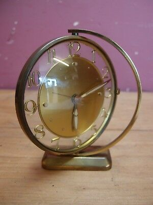 VINTAGE 1960's SWIVELING BRASS CASED ART DECO DESIGN ALARM CLOCK by JAZ