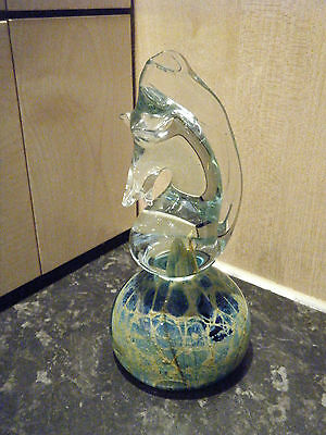 Mdina glass sea horse  paperweight - signed