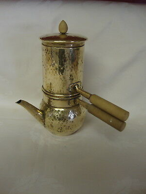 Vintage Brass Turkish Coffee Pot Double Boiler With Wood Handles 5 Pieces
