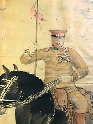 1930s Japanese Army Rice Paper Watercolor Mounted Cavalry Officer Medals Signed