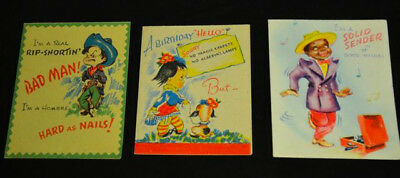 3 Unused Doubl Glo Vintage Birthday Cards Cowboy Funny Groovy Dancing black man