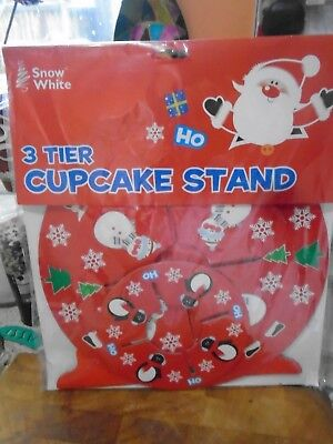 Snow White 3 Tier Cupcake Stand, Red, Christmas Designs