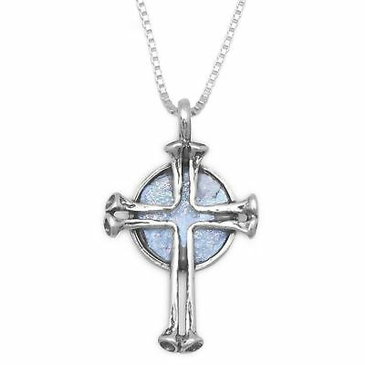 """925 STerling SIlver Cross pendant 18""""Necklace w/ Round Ancient Roman Glass COA"""