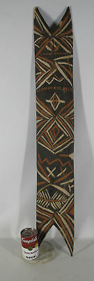 """Vintage Tribal 40"""" Hand Carved & Painted Wooden Shield African / Island Art yqz"""