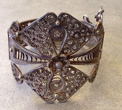 LARGE Old SILVER Moroccan Berber Ethnic Tribal Filigree BRACELET- Hallmarked