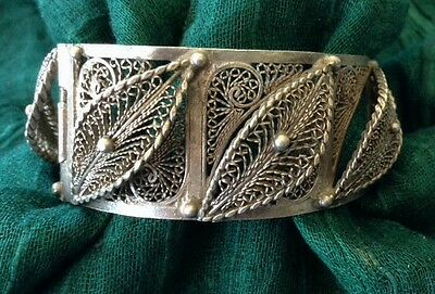 LARGE Old SILVER Moroccan Berber Ethnic Tribal Filigree BRACELET- Hallmarked 2