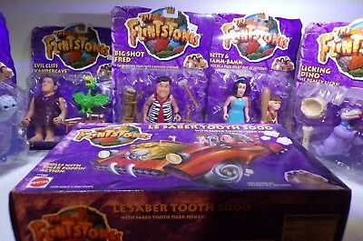 The Flintstones Movie Fred Cliff Barney Betty Bamm Bamm Saber Tooth Figures Lot