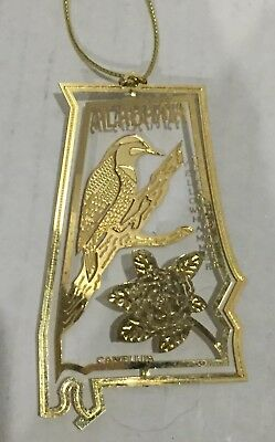 State of ALABAMA 3D State Bird & Flower Brass Christmas Ornament