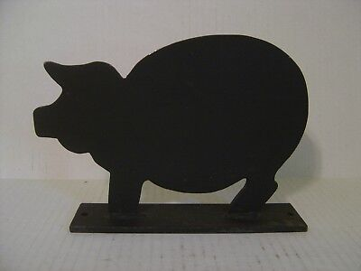 Vintage Black Cast Iron Flat Pig Door Stop