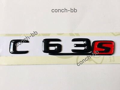 Mercedes C63s Badge Emblem Decals Gloss Black Red S For C63s AMG