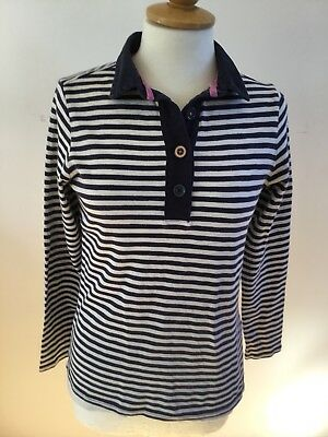Joules White/navy Striped Pink Trim Collared Long Sleeved Pure Cotton Top 12