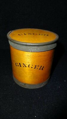 Antique 1800's American Bentwood Ginger Spice Wooden Lidded Jar Country Kitchen