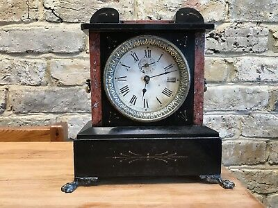 Unusual French slate/marble mantle alarm clock for spares/repairs