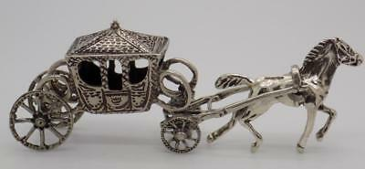32g Vintage Solid Silver Italian Made Royal Carriage Miniature, Figurine, Tested