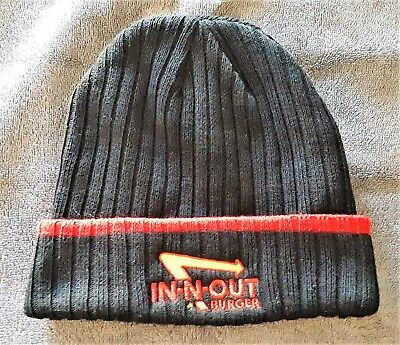 Original IN-N-OUT BURGER Black & Red Beanie w/Logo !!