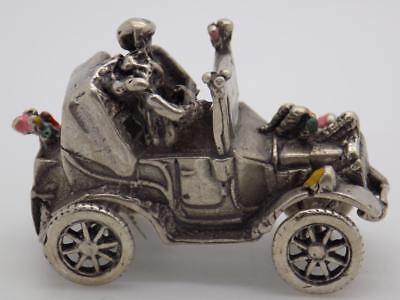 Vintage Solid Silver Italian Made Just Married Car Miniature, Figurine, Stamped