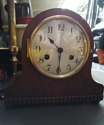 Old Antique Domed Napoleon Hat Style Mantle Clock In E.W.O     Ol2