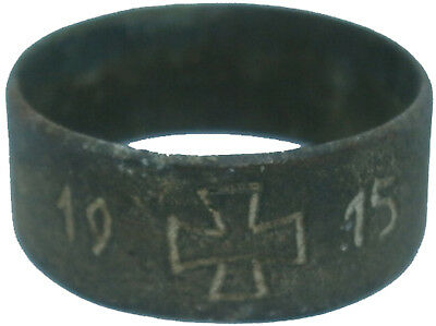 GERMANY Ring 1915 Iron Cross WW1 wwI German Soldiers TRENCH Art Bronze