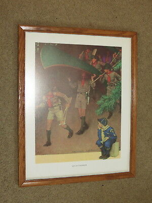EUC Norman Rockwell / Boy Scout print - Men of Tomorrow - in simple wood frame