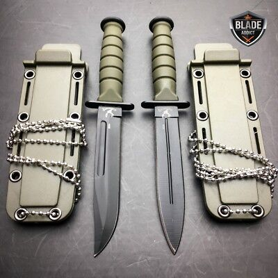 """2 PC 6"""" Kabai Tactical Combat Fixed Blade Neck Boot Knife w/ Chained Sheath -b"""