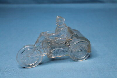 Rare! 1927 Indian Motorcycle W/ Sidecar Candy Container Victory Glass Co.