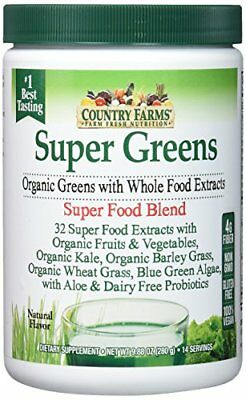 3 Pack Country Farms Super Green Drink Mix Natural Organic 9.88oz Each