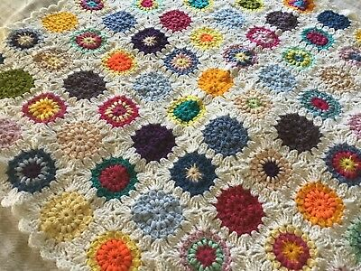 """Hand Crochet Baby Blanket New - Circles and Flowers (37"""" by 37"""") Soft & Snuggly"""