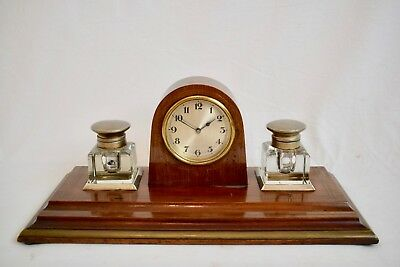 ANTIQUE 1920s FRENCH SINGLE TRAIN BRASS INLAID MAHOGANY DESK CLOCK WITH INKWELLS