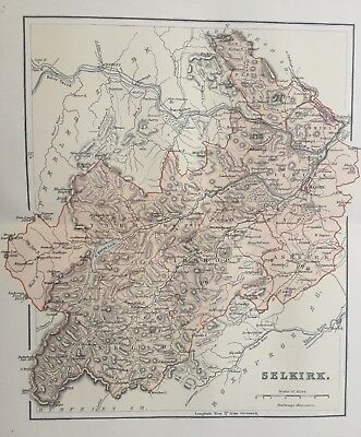 1895 Antique Map of the County of Selkirk, southern Scotland
