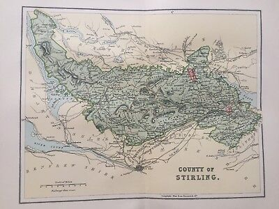 1895 Antique Map of the County of Stirling, central Scotland