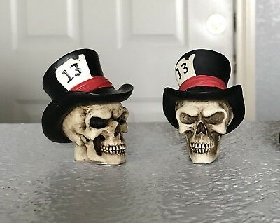 Summit Collection Top Hat Skull Figurines Set Of 2