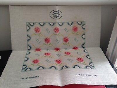 Laura Ashley 'blue Ribbons' Cross Stitch Aida Only Cushion Size .