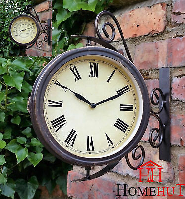 Clock Garden Station Wall Outdoors with 32 cm Bracket Swivel
