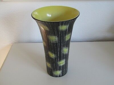 Large Beswick vintage vase 25.50cm high very good condition, black, yellow white
