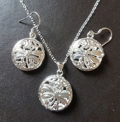 Wholesale .925 Sterling Silver Necklace, Dragonfly Pendant, Earrings & Free Box