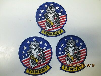 """3 Brand New Colored Us Navy """"tomcat"""" Patches"""