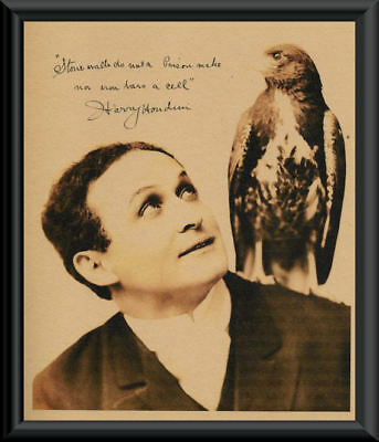 Harry Houdini Autographed Photo Reprint On 100 Year Old Paper *P092