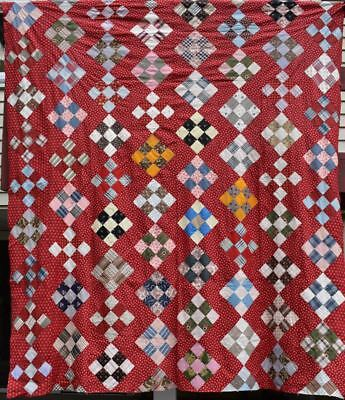"""Antique Quilt Top, """"Nine Patch"""", Colorful Calico's on Red, #18423"""