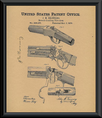 1879 John M Browning Rifle Patent Reprint On 100 Year Old Paper *P090