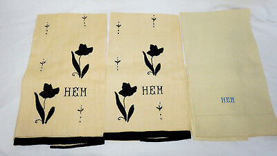 3 Antique Handsewn Applied Black Flower Pale Yellow Guest Towels Monogrammed Hem